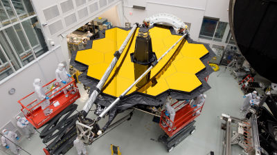 James Webb-rymdteleskopet under konstruktion.