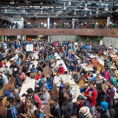 Flyktingar som nyligen anlänt till Dortmund, Tyskland. 6.9.2015.