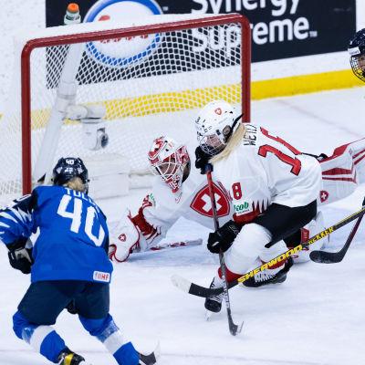 Finlands spelare framför Schweiz mål