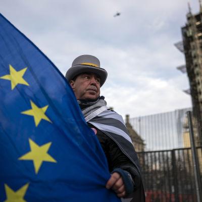EU-lippua pitelevä mies Britannian parlamentin edustalla.