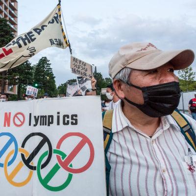 Olympialaisia vastustava mielenosoitus Tokiossa.