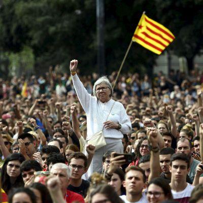 Katalanska demonstranter höjde sina knutna nävar under en demonstration i Barcelona på måndagen mot den spanska polisens agerande.