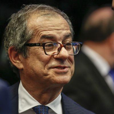 Italiens finansminister, Giovanni Tria, vid ett möte i Luxemburg oktober 2018
