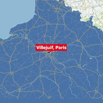 En karta över Frankrike som visar vart Villejuif är. Ett distrikt i södra Paris