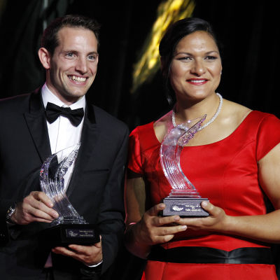 Renaud Lavillenie och Valerie Adams fick ta emot pris.