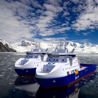 Archtechs isbrytare, så kallade stand-by-fartyg