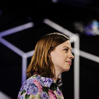 Vasemmistoliiton puheenjohtaja Li Andersson osallistui Pasilassa Ylen kuntavaalitenttiin 26. toukokuuta.