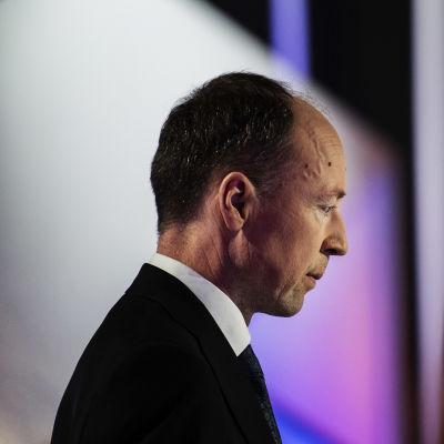 Perussuomalaisten puheenjohtaja Jussi Halla-aho osallistui Pasilassa Ylen kuntavaalitenttiin 18. toukokuuta.