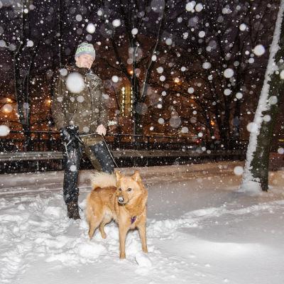 Timo Mustonen oli aamulenkillä Yummy-koiransa kanssa.