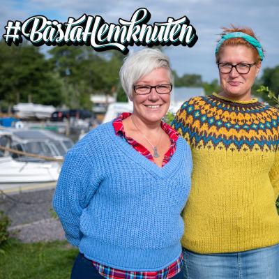 Ingåborna Fina Wikström och Ina Hildeen poserar i småbåtshamnen i centrala Ingå.
