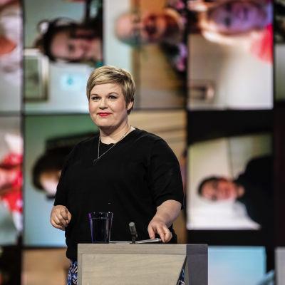 Keskustan puheenjohtaja Annika Saarikko osallistui Pasilassa Ylen kuntavaalitenttiin 25. toukokuuta.
