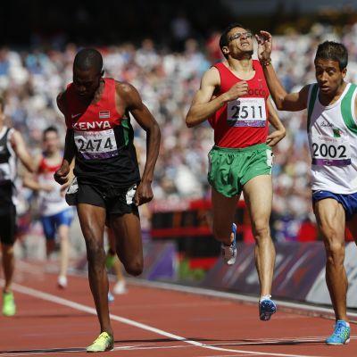 Abdellatif Baka of Algeria Gold Abdelillah Mame of Morocco bronze and David Korir of Kenya silver