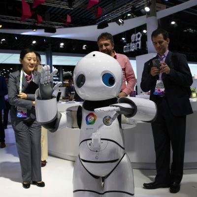 Robot vid Mobile World Congress i februari 2017.