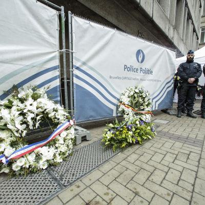 Utanför metrostationen Maelbeek i Bryssel.