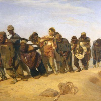 Ilja Repin: Volgan lautturit. Miehet kiskovat proomua.