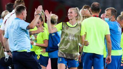 Sverige firar efter seger i OS.
