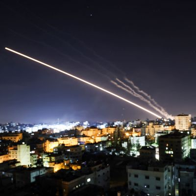 Raketer mot Gaza morgonen 15.5.2021.