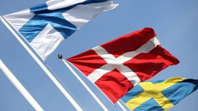 den finska, danska och svenska flaggan i hård blåst