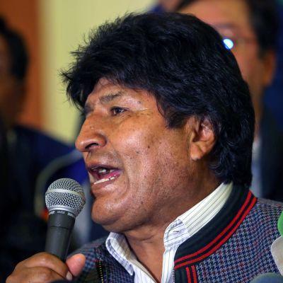 Bolivias president Evo Morales under en presskonferens i Palacio Quemado i La Paz 20.10.2019.