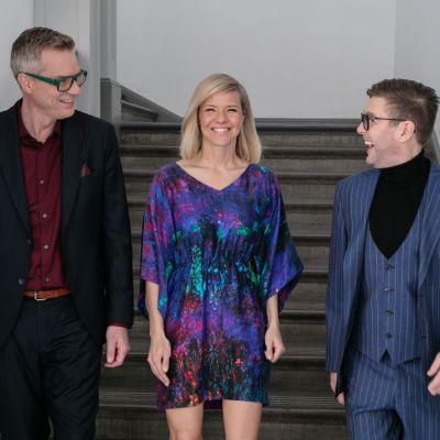 Mårten Svartström, Sonja Kailassaari och Thomas Lundin inför festen, 2020