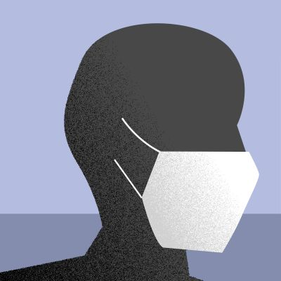 grafisk bild av sjukhusingång och patient med mask