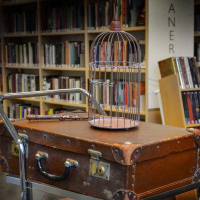 Rekvisita, Harry Potter-kväll i Pargas bibliotek. En kappsäck, trollstav och fågelbur.