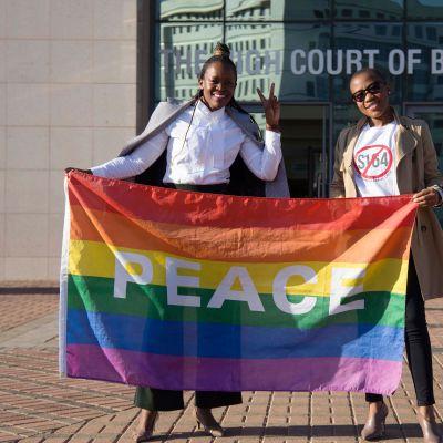 Utanför högsta domstolen i Botswana