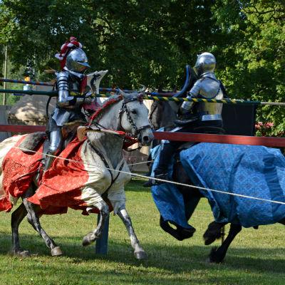 Två riddare i rustningar rider mot varandra med lansarna mot varandra i ett tornerspel