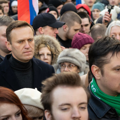 Aleksei Navalnyi on the Nemtsov memory march