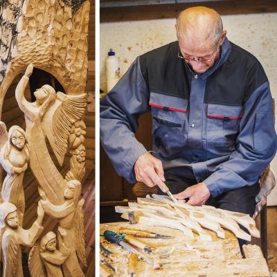 Leo Karppanen veistää puusta yksityiskohtia.
