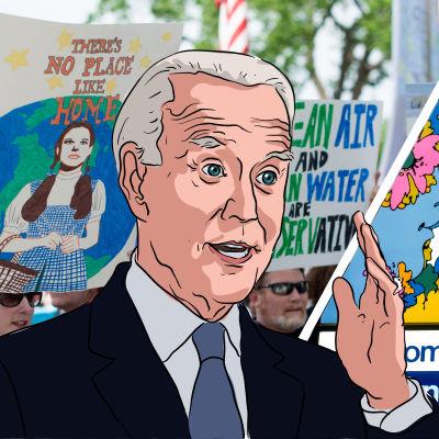 """Grafik/bildmontage. I bakgrunden syns personer som demonstrerar under en klimatmarsch samt en skylt med texten """"Välkommen till USA"""" vid gränsen till Mexiko. I förgrunden målning av Joe Biden."""