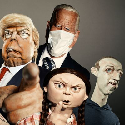 Maailmanjohtavia poliitikoita muistuttavia nukkehahmoja.