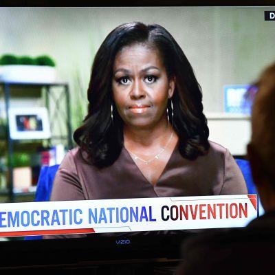 Tidigare första dam Michelle Obama håller tal under Demokraternas virtuella partikonvent i USA den 18 augusti.