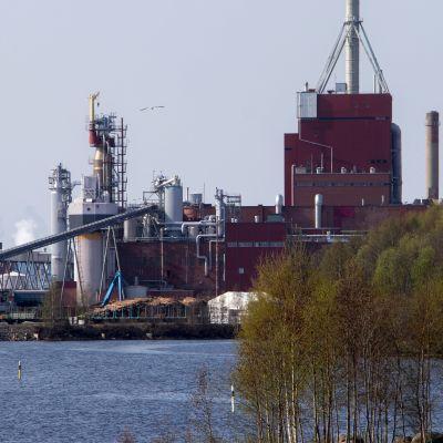Stora Enson Oulun tehdasaluetta Hartaanselän takana.