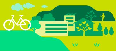 Vihreä piirretty kuva. Taustalla puita ja taloja. Edessä valkoinen pyörä.