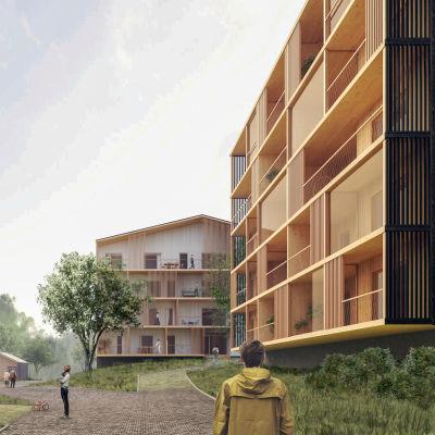 Arkitektvision över trähuskvartet.
