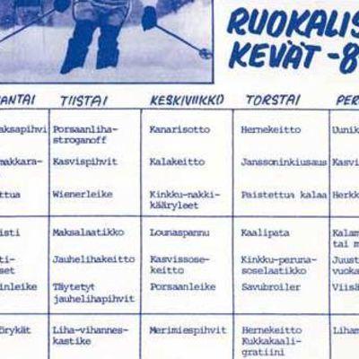 Oulun Yliopiston lääketieteellisen tiedekunnan ruokala Medisiinan ruokalista keväältä 1984.