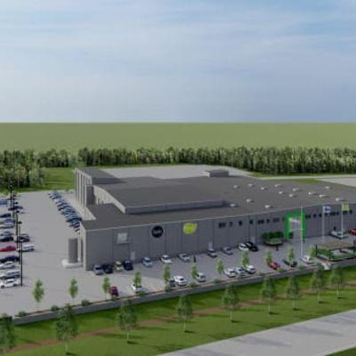 Havainnekuva Fresh Servant Oy:n investoinnista Edsevössä. Tehdaslaajennuksen pitäisi olla käytössä kesällä 2022.