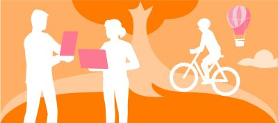 Drawing of people. One is on a bicycle, two are standing with screens.