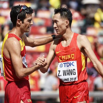 Miguel Angel Lopez och Zhen Wang, VM i Peking 2015.