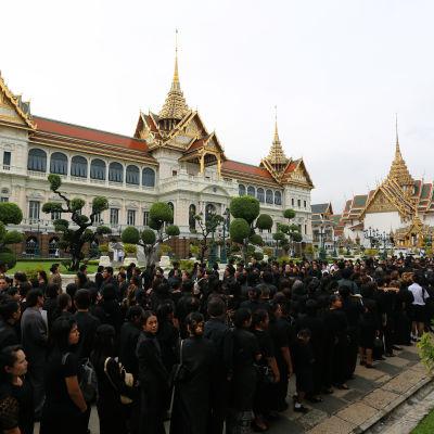 Över 80 000 svartklädda sörjande stod i kö utanför det kungliga palatset i morse i hopp att få en sista glimt av den avlidde kung Bhumipol