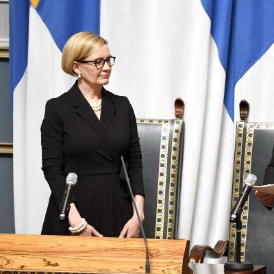 Paula Risikko och Sauli Niinistö vid riksmötets avslutande 10.4.2019.