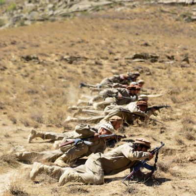 Talebania vastustavia joukkoja Panjshirissa.