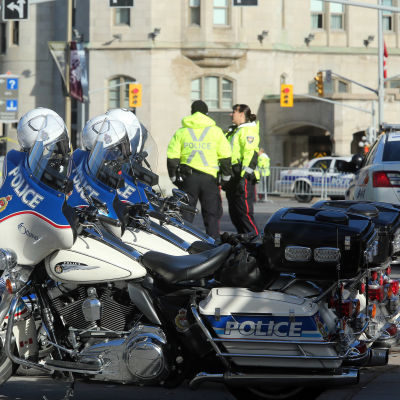Motorcyklar som tillhör kanadensisk polis.