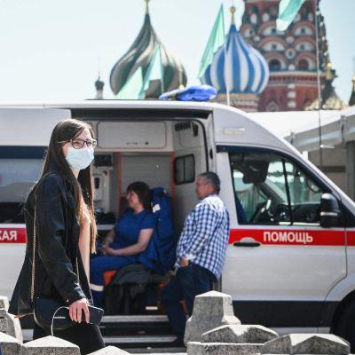 Vy från Röda torget i Moskva den 18 juni 2021.