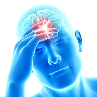 Bild av manshuvud, hjärnan synlig