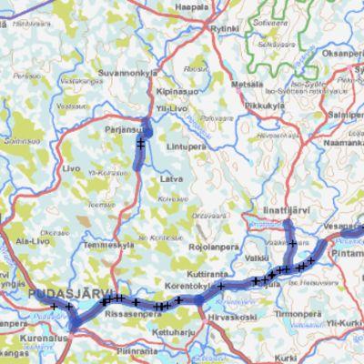 Porokolarien riskialue kartalla Pudasjärven ja Taivalkosken välillä.