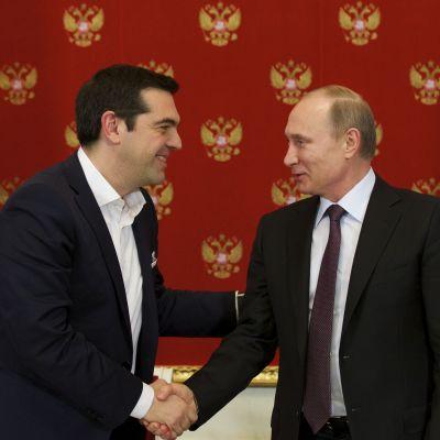 Rysslands president Vladimir Putin och Greklands premiärminister Alexis Tsipras i Moskva.