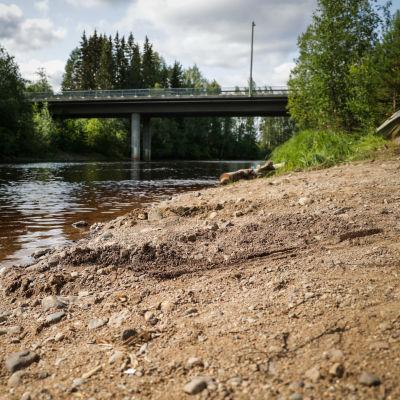 Löytöpaikka Suojoen rannalla, taustalla näkyy silta.