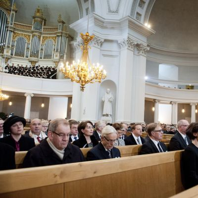 Självständighetsgudstjänst i domkyrkan i Helsingfors.